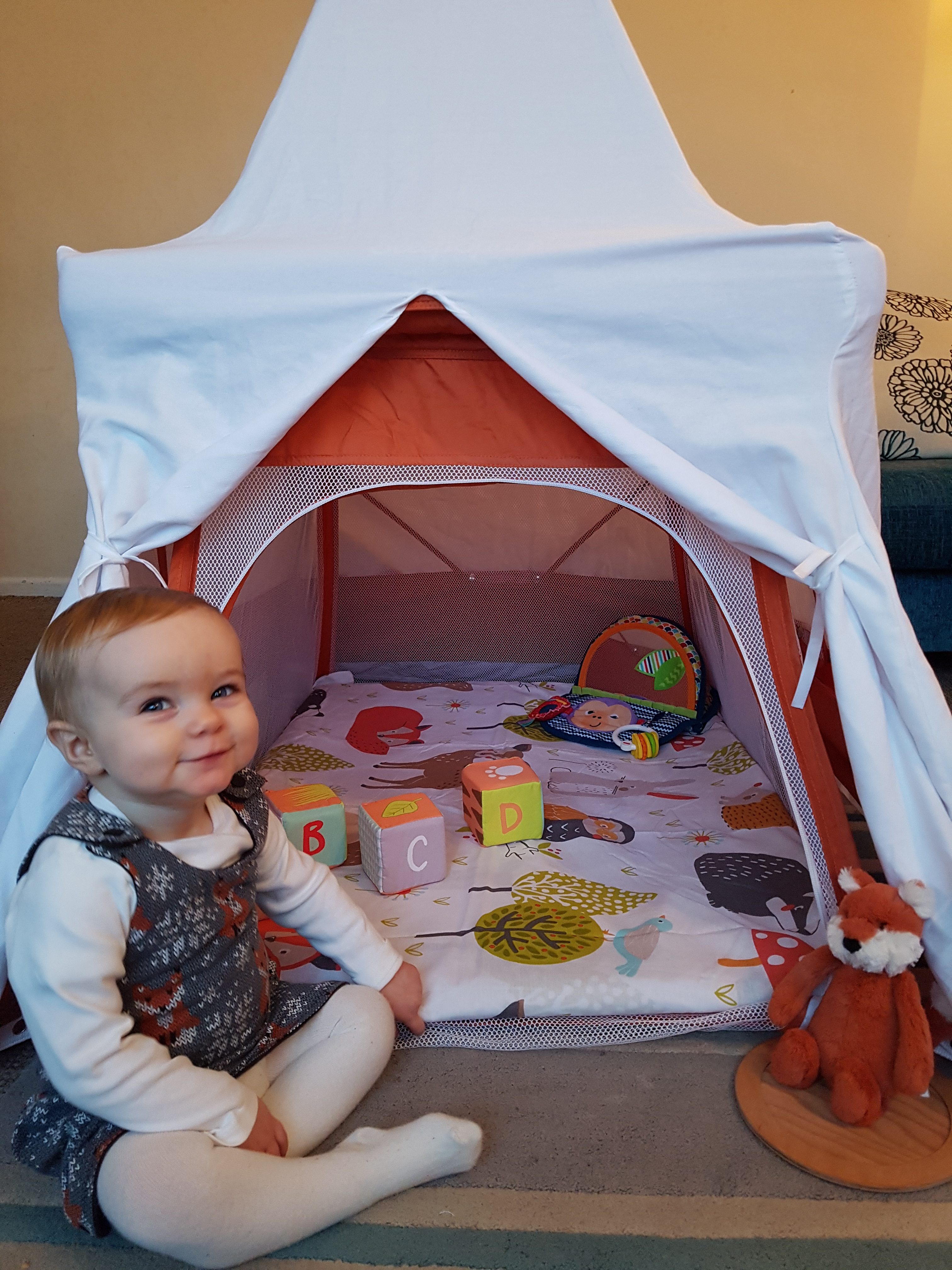 Red BabyHub Travel Cot with Circus Tepee and Mosquito Net